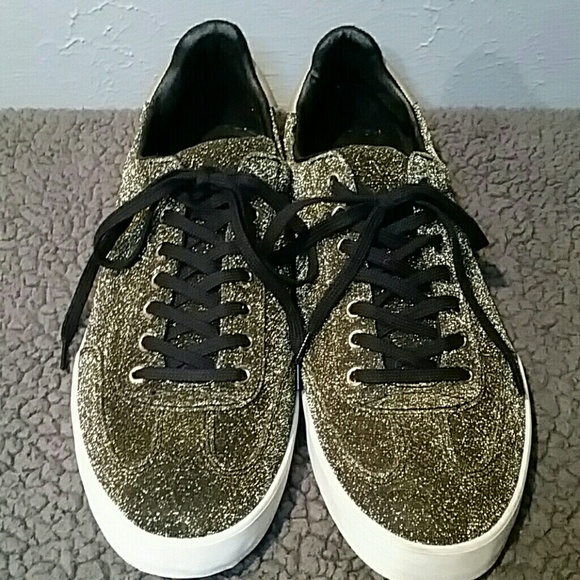 e0eb4be9 Zara Shoes   Man Sneakers Gold Glitter Sz 42 Us Sz 10   Poshmark